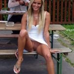 Barefoot blonde is so pleasantly bottomless outside