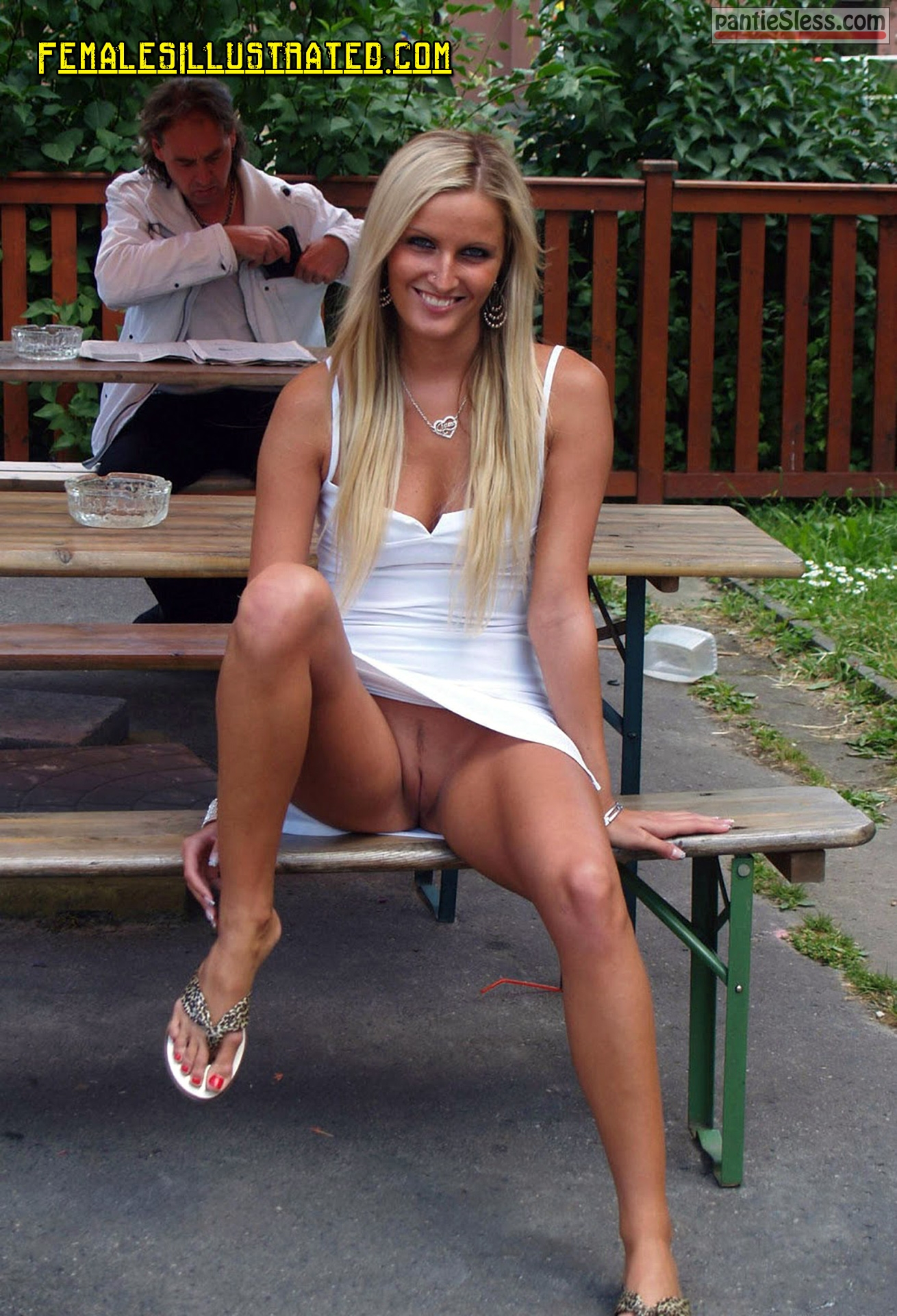 upskirt shaved pussy public flashing hotwife blonde  Slim blond flashing pussy and smiling in front of stranger