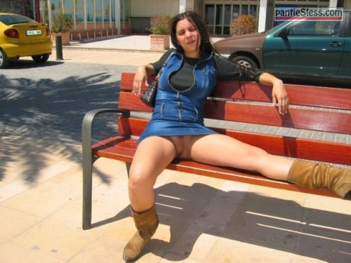 upskirt pussy flash public flashing prostitute milf hotwife dark haired bottomless  French wifes bare cunt under denim dress in public