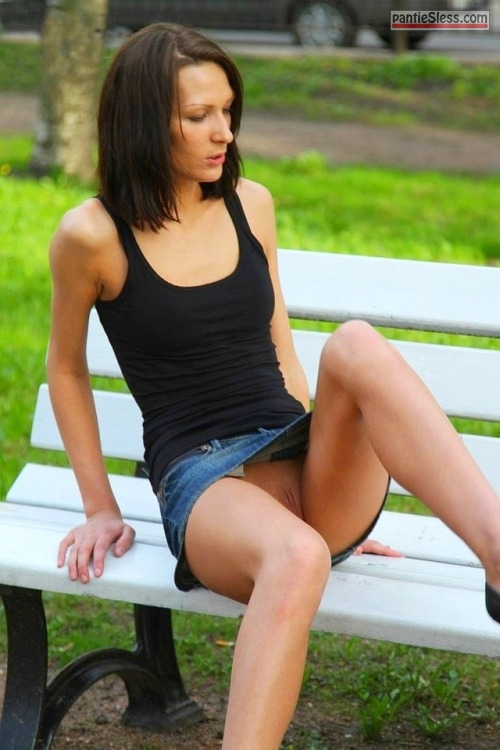 voyeur upskirt shaved pussy pussy flash public flashing brunette bottomless accidental flash Skinny GF caught pantyless on park bench