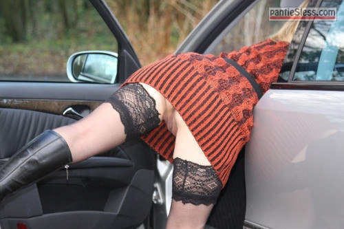 voyeur upskirt bottomless  Stockings under red dress no panties and Mercedes