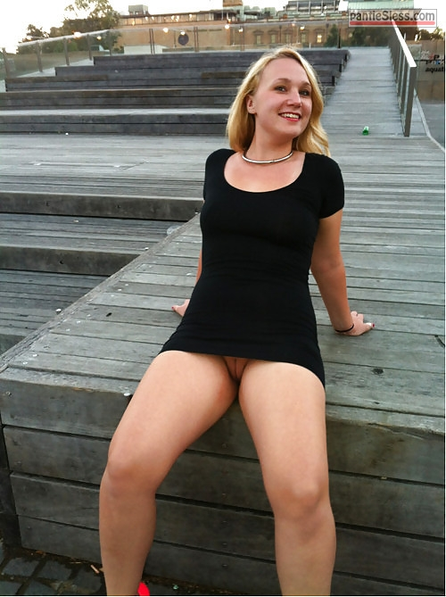 upskirt pussy flash public flashing milf bottomless blonde  Hotwife feels happy when goes without underwear in public