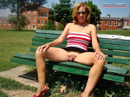 pussy flash public flashing milf bottomless blonde Hot teacher after work spreading legs on green bench near school