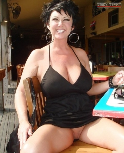 upskirt shaved pussy pussy flash public flashing milf hotwife dark haired bottomless  Black haired busty MILF skimpy dressed without panties