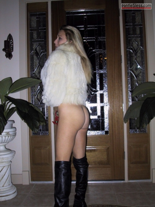 milf bottomless blonde ass flash  Rich hotwife is bottomless while wearing white fur jacket