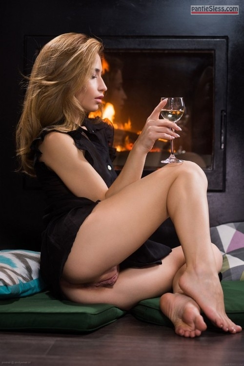 upskirt shaved pussy pussy flash brunette bottomless  Wife is pantyless when drinking wine