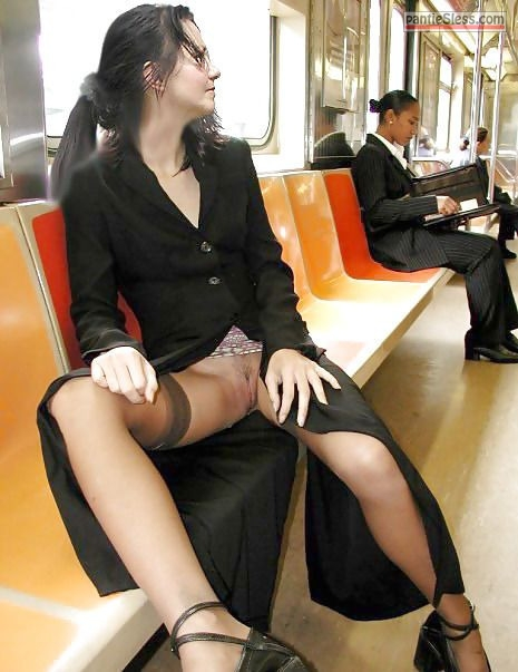 trimmed pussy pussy flash public flashing milf hotwife dark haired bottomless Lady in black wearing stockings and flashes pantyless cunt in train