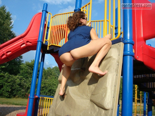 upskirt public flashing brunette bottomless ass flash  Knickerless at the kids playground