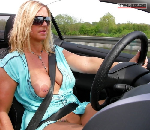 public flashing pierced milf hotwife bottomless boobs flash blonde  Luxury blonde driving convertible without underwear