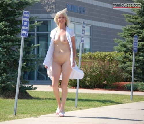 shaved pussy public flashing nudes milf hotwife blonde Tall lady nude walk on sidewalk at daytime