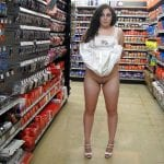 Busty black girl flashing big tits and pussy tan lines at supermarket