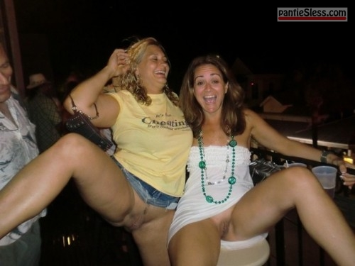 upskirt trimmed pussy shaved pussy pussy flash public flashing milf hotwife brunette bottomless blonde  Two Drunk ladies on summer vacation without husbands