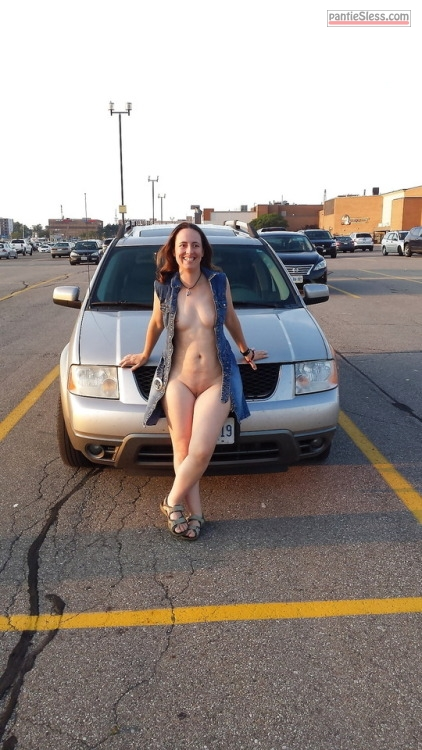 shaved pussy public flashing nudes milf hotwife bottomless Wifey opens her front and gets almost nude in car parking