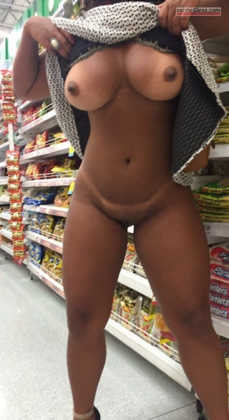 shaved pussy pussy flash public flashing ebony bottomless boobs flash  Curvy ebony GF flashing underwear less body and showing tanlines at market