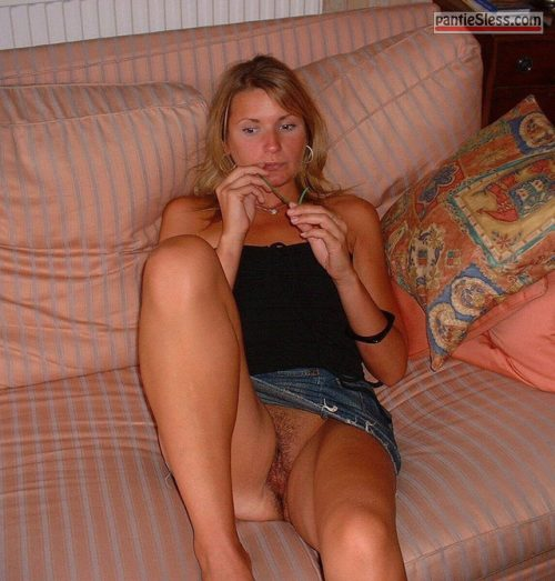 upskirt trimmed pussy milf hairy pussy bottomless blonde  Wifey doesnt give a damn of her exposed cunt