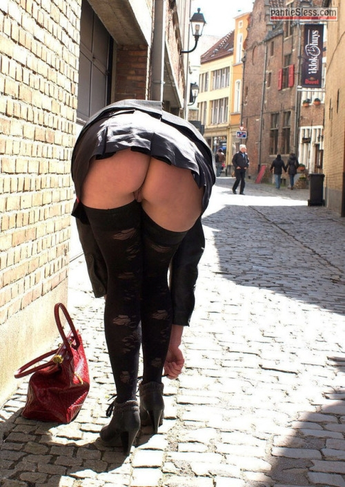 upskirt public flashing milf mature hotwife ass flash  Mature  MILF in black slutty stocking bending over pantyless