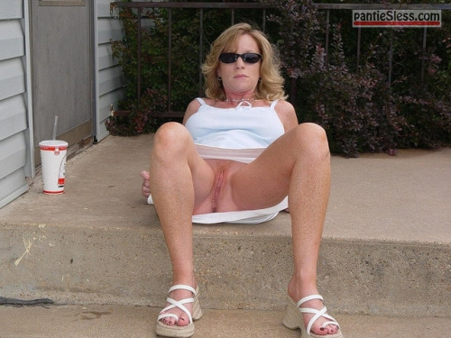 shaved pussy pussy flash milf hotwife bottomless blonde  Slut wife with sunglasses exposing cunt to fresh air