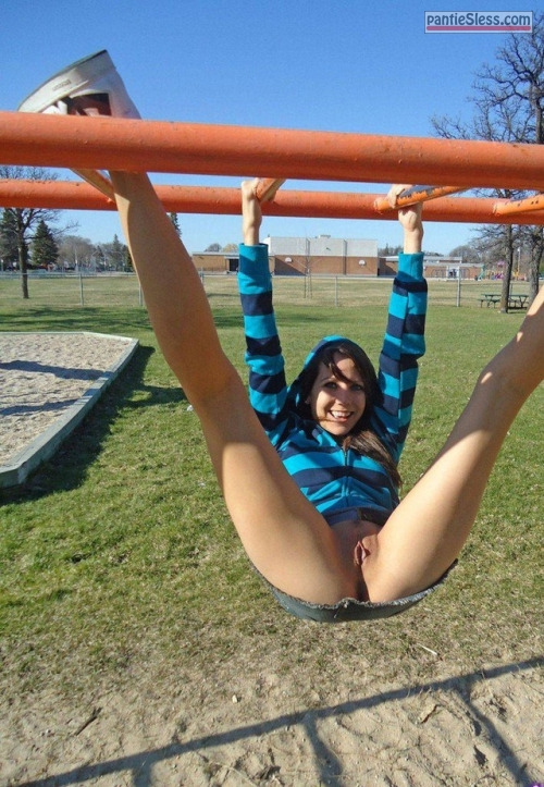 teen shaved pussy pussy flash public flashing dark haired brunette bottomless Happy without panties on kids playground