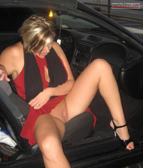 shaved pussy pussy flash public flashing milf hotwife bottomless blonde  Pantie less MILF stepping out the car