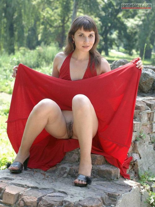trimmed pussy pussy flash public flashing hairy pussy dark haired babes  Nude Swiss girl in red dress flashing cunt in park