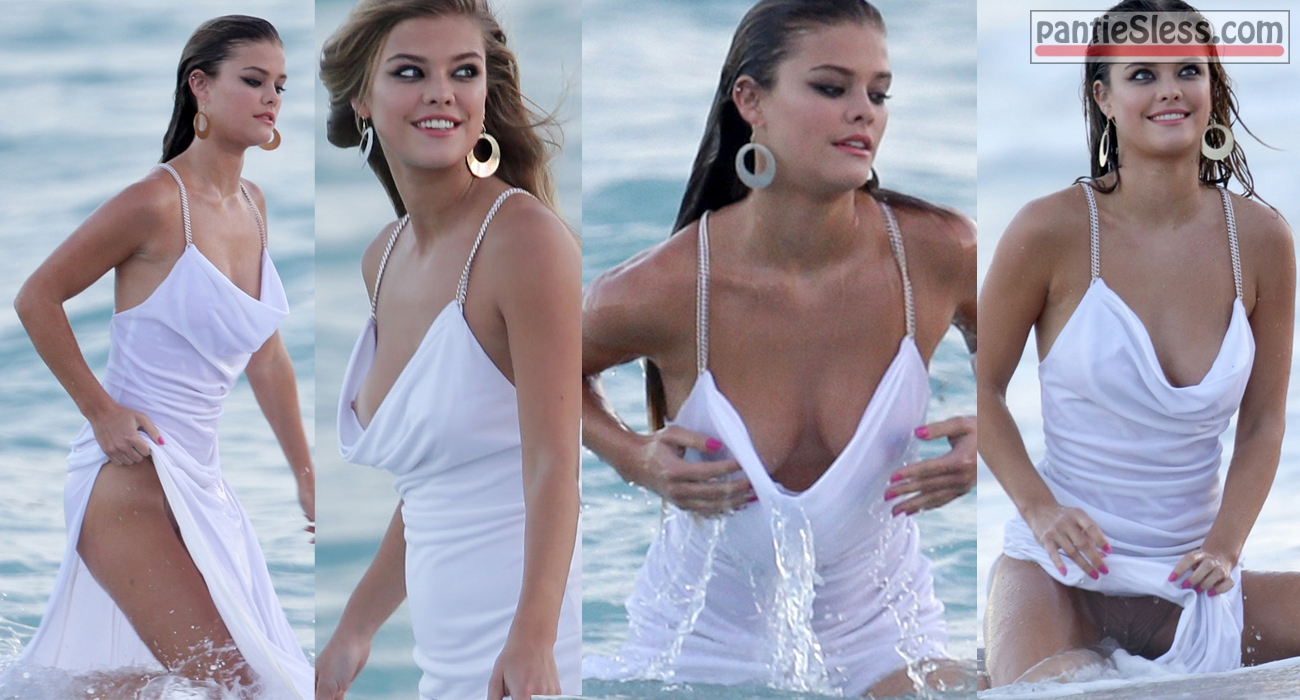 nude celebrity nip slip brunette boobs flash accidental flash  Nina Agdal nude boob paparazzi shot
