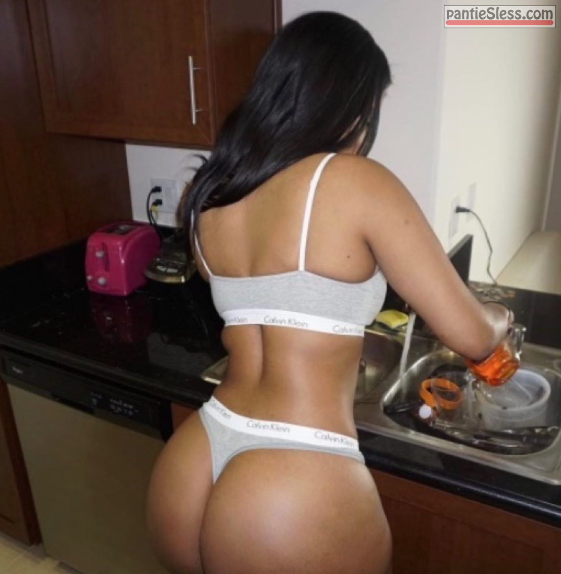 panties ebony ass flash  Shelley Golden almost nude in the kitchen showing round booty