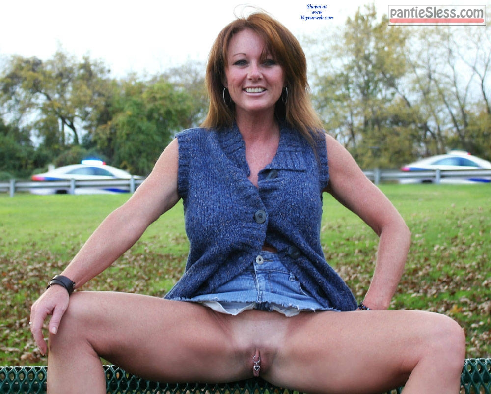 shaved pussy pussy flash public flashing pierced milf hotwife bottomless Redhead MILF spreads pierced cunt in public