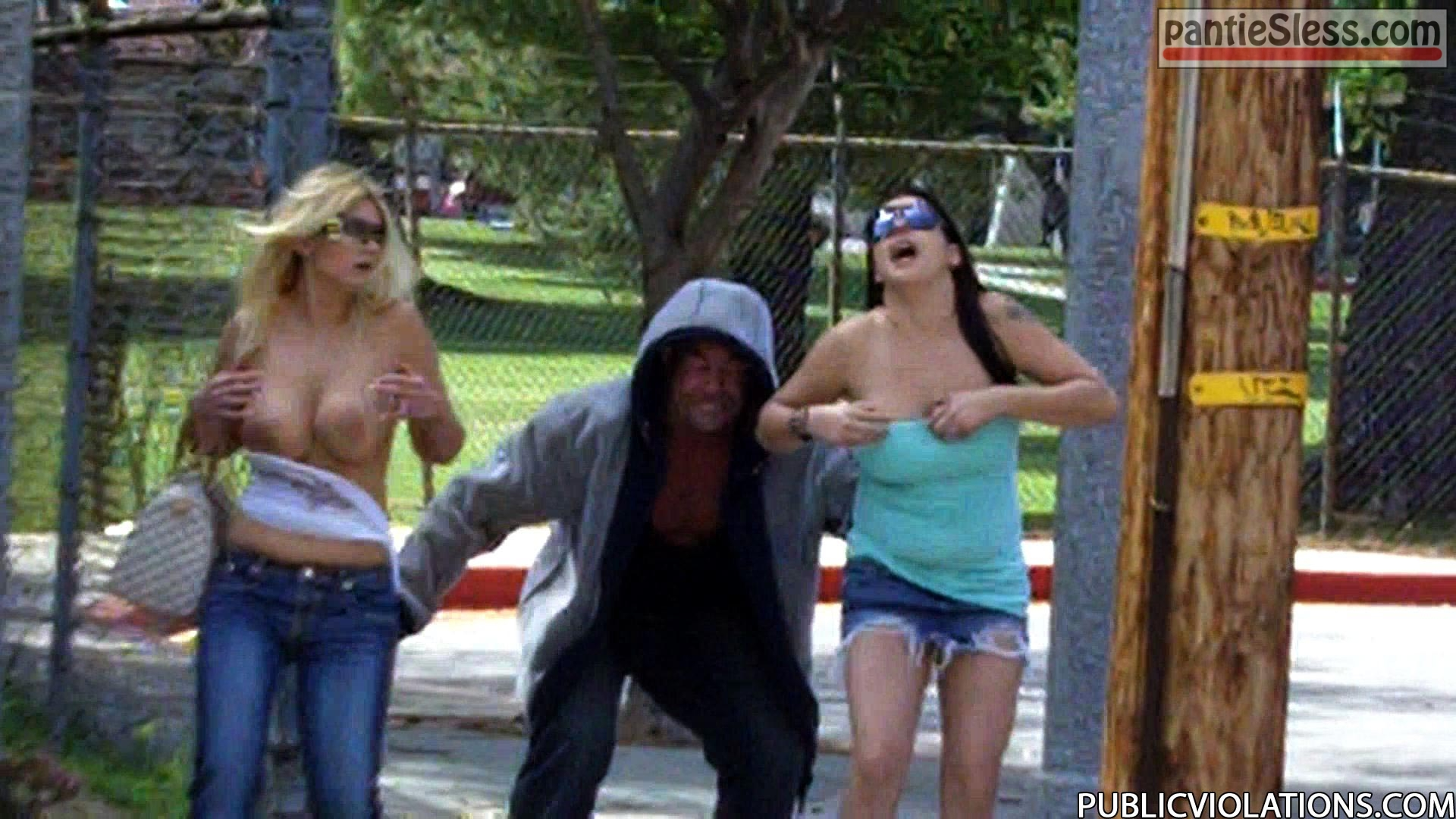 sharking public flashing downblouse dark haired college boobs flash blonde accidental flash  Old perv ripping off tops of two college girl on the street