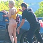 Bareass blonde happy when bent over in public