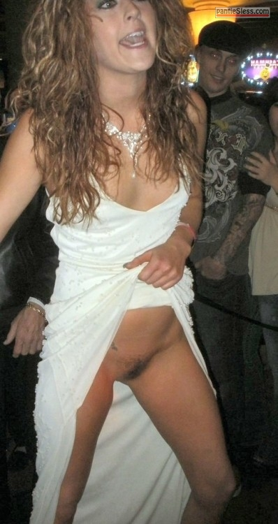 upskirt pussy flash public flashing milf hotwife hairy pussy brunette bottomless Drunk GF in white evening dress flashing pussy at the party