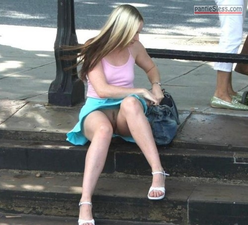 voyeur upskirt bottomless blonde accidental flash  No knickers under blue skirt