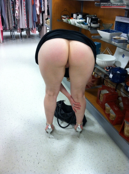 public flashing milf hotwife bottomless ass flash  Big ass no panties and high heel sandals
