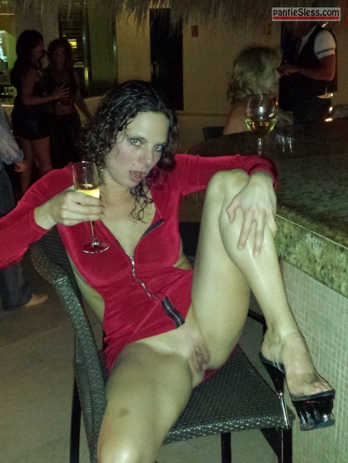 shaved pussy pussy flash public flashing milf hotwife brunette bottomless Flashing cunt under red dress and drinking wine at the club
