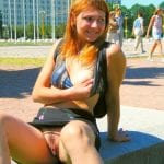 Bottomless wife Angela seducing a guy in the park
