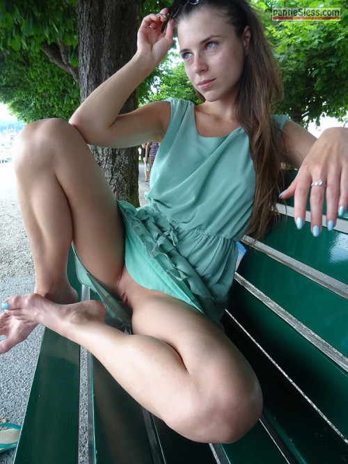 upskirt pussy flash public flashing brunette bottomless  Pantyless and barefoot on park bench