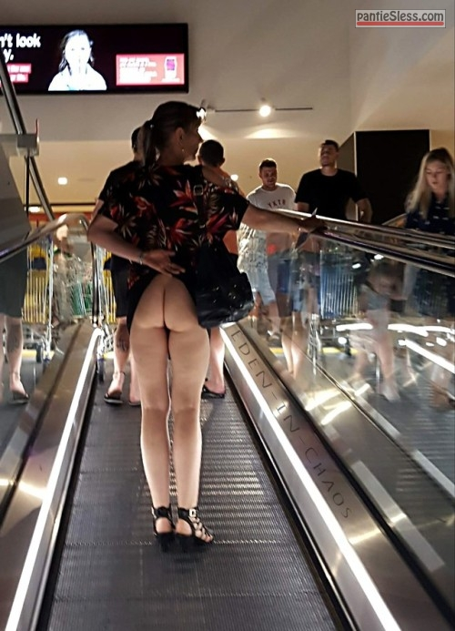 upskirt public flashing milf hotwife brunette bottomless ass flash  Naked ass on escalator