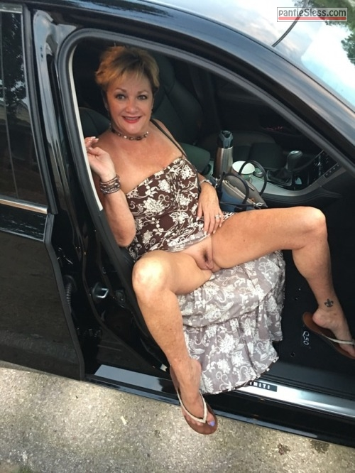 pussy flash public flashing milf mature hotwife bottomless blonde  Sexy Mistress flashing cunt from passenger seat