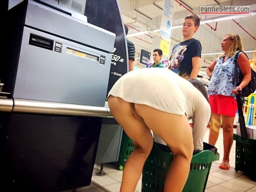 upskirt public flashing bottomless ass flash  Pantieless upskirt at supermarket   bare asspussy under white dress