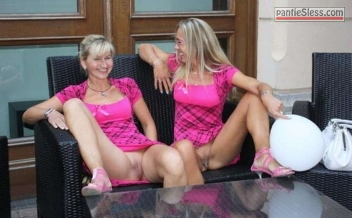 pussy flash public flashing milf mature bottomless blonde  Two mature knickerless blondes enjoying themselves in the lobby