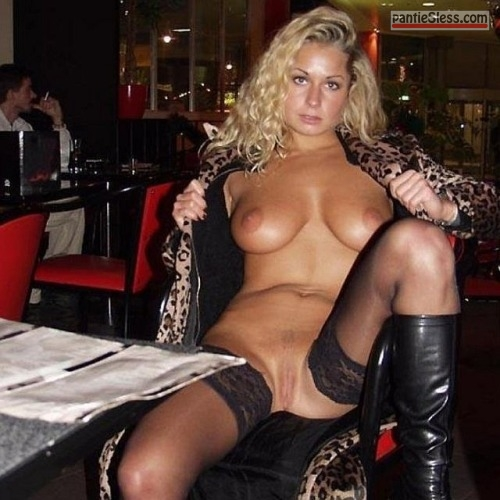 shaved pussy pussy flash public flashing prostitute hotwife bottomless boobs flash blonde  Slutty blonde flashing tits and pussy in restaurant