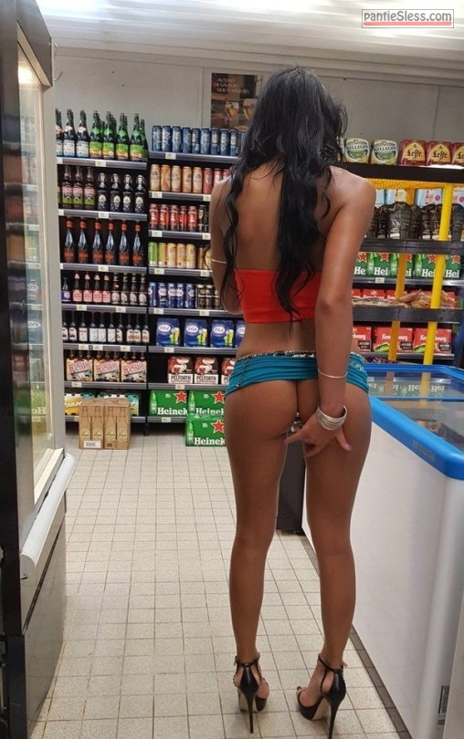 upskirt public flashing dark haired bottomless babes ass flash  Slender GF in high heels checking out butt plug at supermarket