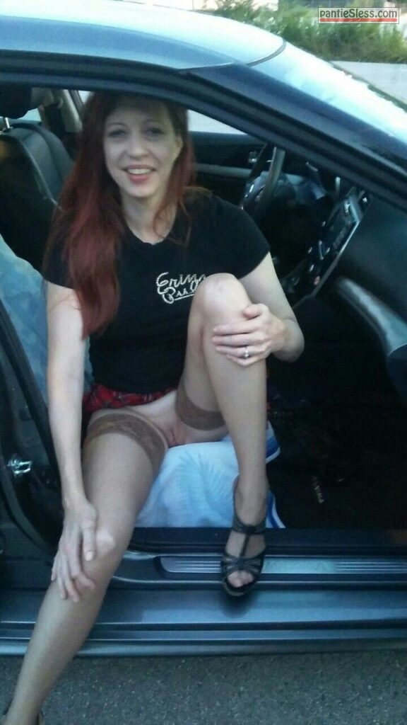 shaved pussy redhead pussy flash public flashing milf hotwife bottomless  Cute Redhead Wife Flashing From a Car